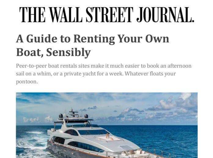 Boatsetter Featured in the Wall Street Journal